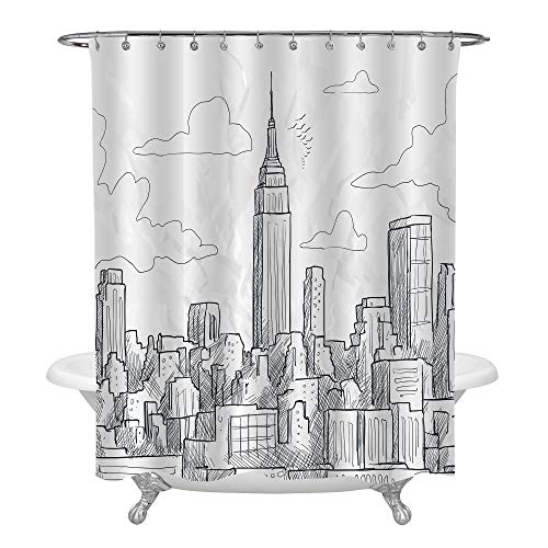 MitoVilla Sketchy NYC Skyline Shower Curtain Set, Hand Drawn America Urban City Landscape Abstract Painting, Empire State Building Black and White House Decor, Easy Care Washable Large 72