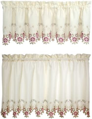 Today s Curtain Verona Reverse Embroidery Window Tier, 36-Inch, Ecru Rose