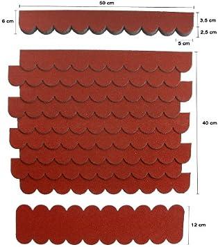 5 Sets,Mini-Dachschindeln Weinrot,Pappe,Hundehütte,Sandkasten,Vogelhaus,Garten