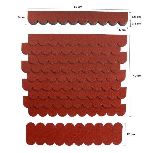 Mini Dachschindeln,ROT,Dachpappe,Vogelhäuser,Kaninchenstall,Holzgestell,Betonsäulenüberdeckung,Sandkastendächer,Hundehütte,Briefkastendächer