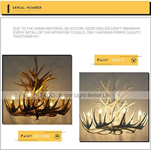 EKOO Resin Antler Chandelier, E12 Deer Horn 8 Light Vintage Style Ceiling Light American Rural Countryside Antler Chandeliers for Living Room,Bar,Cafe, Dining Room