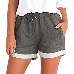 Tengo Women Summer Beach Shorts Juniors Folded Hem Shorts with Drawstring(Darkgrey,M)