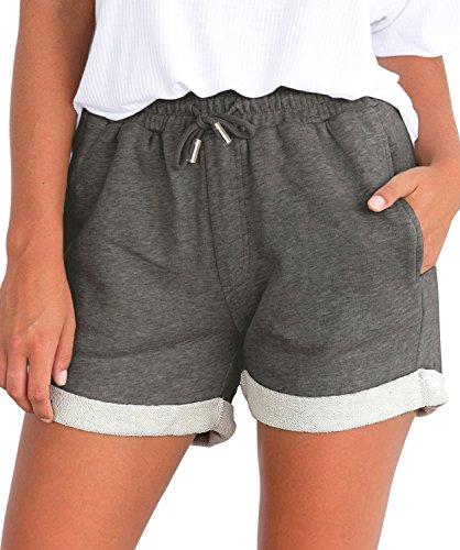Tengo Women Summer Beach Shorts Juniors Folded Hem Shorts with Drawstring(Darkgrey,M)