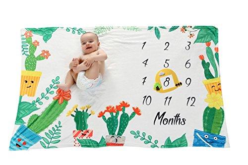 Premium Fleece Cactus Baby Milestone Blanket for Newborn Photo Props, Monthly Growth Tracker, Baby Shower Gift for Baby Boy & Girl