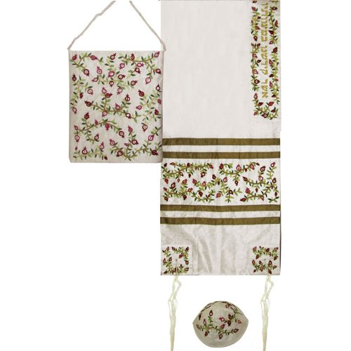 Raw Silk Tallit Set Embroidered Dark Pomegranates in White with Tallisack