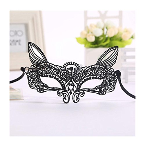 Euone Halloween Masquerade Sexy Lady Black White Lace Mask hollow out Catwoman (C)