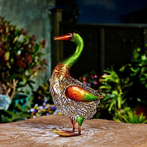 Festive Lights solarbetriebene Garten Leuchte im Enten-Design, aus mehrfarbigen Metall mit effektvoller LED Beleuchtung