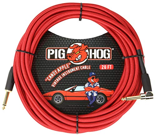 Pig Hog Candy Apple Red Instrument Cable 20' Right Angle PCH20CAR