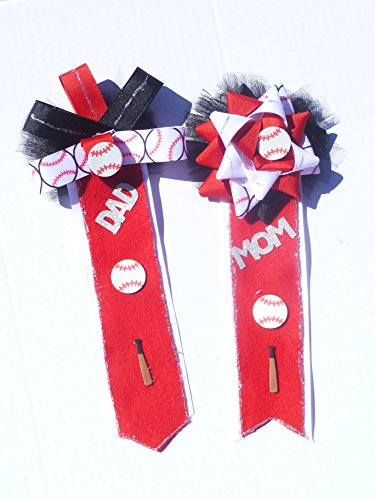 Themed Corsage For Mom and Dad To Be ( Red &White) (Bebe Rosette)