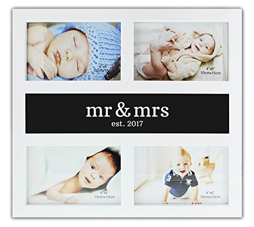 Newlywed Gifts Mr Mrs Est 2017 Wedding Gift Picture Frame Plastic 4-Display 4x6 Anniversary Frame (6 Wreath Frame)