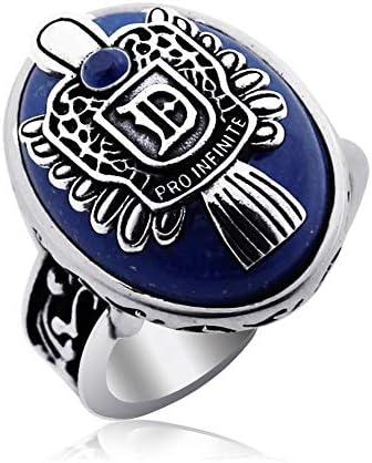 YLSP バオ自然なラピスラズリブルー調節可能なリング最高の男の結婚式は女性の男性のAAAAAを祈っ宝石ビーズリング (Color : -)