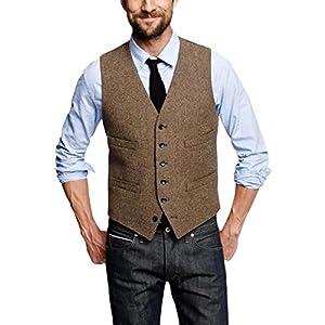 Pretygirl Men's Wool Herringbone Groom Vests Groom's Suit Vest/Tweed Business Suit Vest