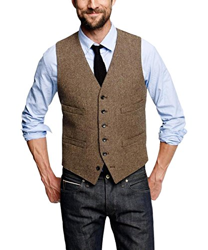 Pretygirl Men's Wool Herringbone Groom Vests Groom's Suit Vest/Tweed Business Suit Vest ()