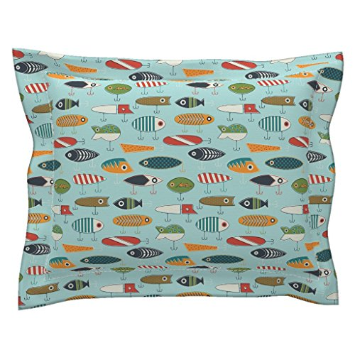 Roostery Fishing Lure Fishing Lure Vintage Retro Antique Bright Pillow Sham by Roostery