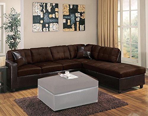 Acme Furniture ACME Milano Chocolate Easy Rider Reversible Sectional Sofa with 2 (Milano Sectional)
