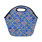 Best Royal Food Scales - Insulated Neoprene Lunch Bag Royal Blue Mermaid Scales Review