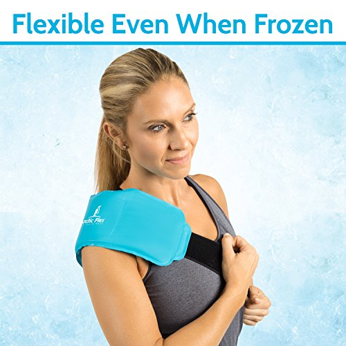 Arctic Flex Hot Cold Therapy Wrap - Reusable Gel Ice and Heat Compress Pack with Strap for Muscle, Injuries, Back, Neck Aches, Knee, Ankle, Calves, Elbow Pain Relief - Microwaveable Blue Pad, Flexible by Arctic Flex (Image #2)