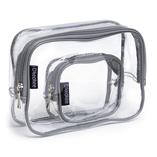 Keokee Clear Toiletry Bag Set | Quart Size with Smaller Case for Travel and Organizing | TSA Compliant for 3-1-1 Liquids (Gray)