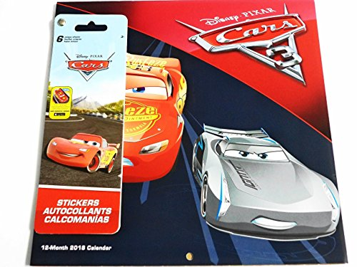 Disney Pixar Cars 3 2018 Calendar and Sandylion Sticker Bundle