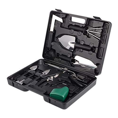 Gardening Gifts Tools  Sets,12 Pieces stainless steel Garden Tool Kit with Carrying Case for women or men Gardener -Black by LQLGT (Image #7)