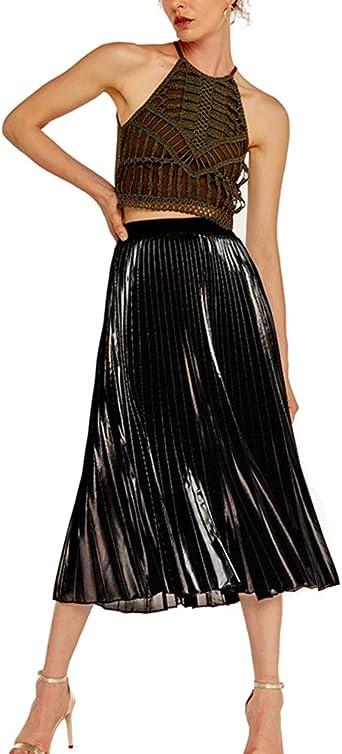 Mengmiao Falda de Cintura Alta Largo Maxi Faldas Mujeres Plisado ...