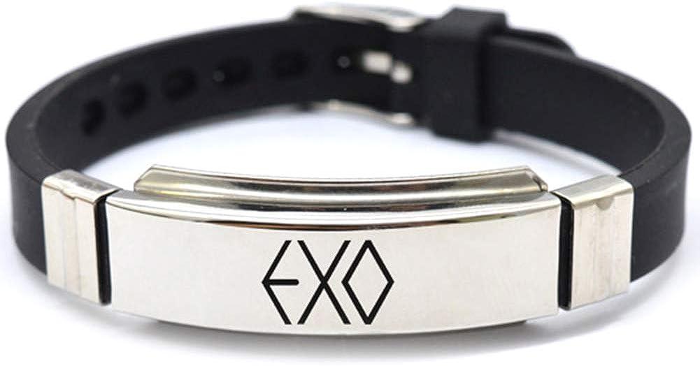 Bestomrogh Kpop BTS EXO GOT7 Black Pink Seventeen Twice Acier Inoxydable Bracelet de Sport Combinaison Logo Bracelet R/églable A.R.M.Y Cadeau Chaud pour Les Fans