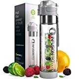 Infusion Pro Water Infuser Bottle – 24 oz Infused Water Bottle bpa Free | Premium Leak Proof Tritan Plastic with Bottom Infusing Design | Flip Top Locking Spout
