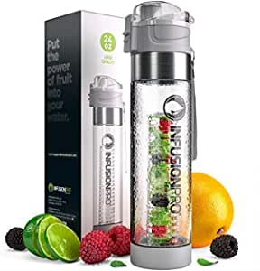 Infusion Pro Fruit Infusion Water Bottle, Sport (24 oz) - Includes Neoprene Insulation Sleeve, Carrying Strap and Locking Lid - Leak-Proof Design for Work, Travel and Gym - BPA-Free, Non-Toxic Plastic