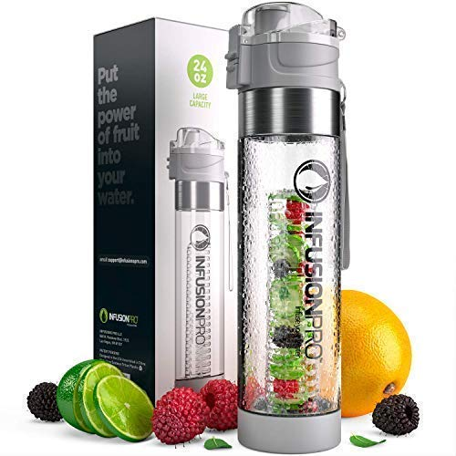 (Infusion Pro Water Infuser Bottle – 24 oz Infused Water Bottle bpa Free | Premium Leak Proof Tritan Plastic with Bottom Infusing Design | Flip Top Locking Spout)