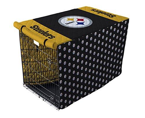 Pegasus Sports NFL Pittsburgh Steelers Pittsburgh Steelers Pet Crate Cover, Black, 48-Inch