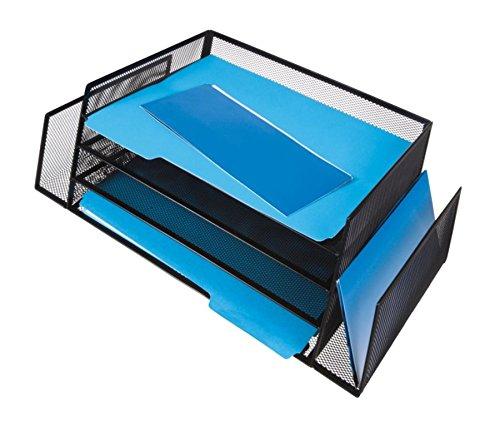 Brenton Studio(TM) Mesh 4-Shelf 2-Sided Desk Sorter, Black by OfficeMax (Image #2)