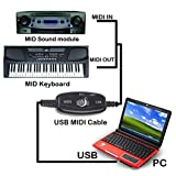 Sumger 6ft 5 Pin USB IN-OUT MIDI Cable Converter PC to Music Keyboard Adapter Cord Supports Window Vista Xp Mac Os