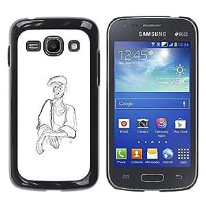 GOODTHINGS Funda Imagen Diseño Carcasa Tapa Trasera Negro Cover Skin Case para Samsung Galaxy Ace 3 GT-S7270 GT-S7275 GT-S7272 - hombre campesino lápiz arte sombrero de carbón de dibujo