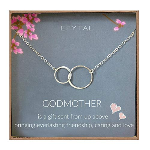 EFYTAL Godmother Gifts from Godchild Sterling Silver Interlocking Circle Necklace Proposal Gift for Girl Baptism (Godmother Gift)