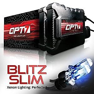 OPT7 Blitz Slim H4 9003 Bi-Xenon HID Kit - 3.5x Brighter - 4x Longer Life - All Bulb Sizes and Colors - 2 Yr Warranty [6000K Lightning Blue Light]