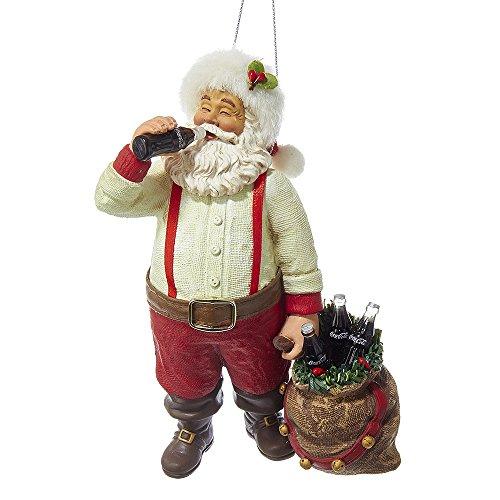 "Kurt Adler CC9162 Santa Drinking Coke Ornament, 5.5"""