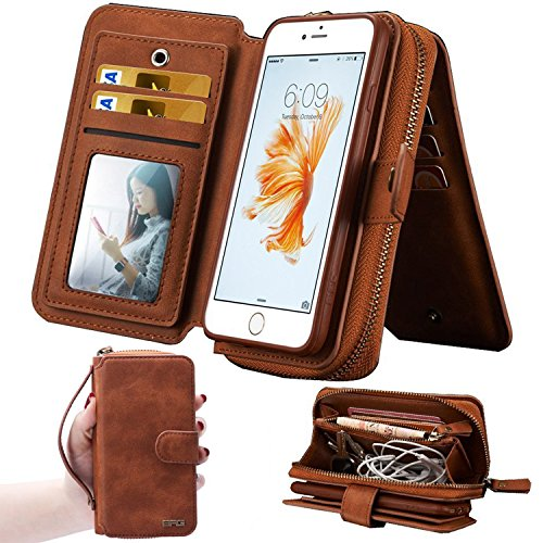 iPhone 7Plus/8Plus Women's Case,iPhone 7 Plus/8 Plus Wallet Case,Zipper Detachable Magnetic12 Card Slots Card Slots Money Pocket Clutch Cover Zipper Wallet Purse Case iPhone 7 Plus/8 Plus (Brown) ()