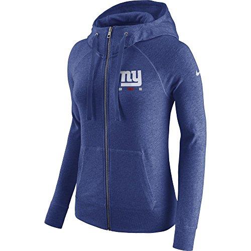 NIKE Women's New York Giants Full Zip Vintage Gym Hoodie Rush Blue Heather/White Size - Full Zip Hoody Rush