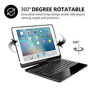 iPad Pro 10.5 Keyboard Case, G-TING 7 Colors Adjustment Backlit and Breathing Light Wireless Keyboard with Ultrathin, Aluminium, 360 Degree Rotatable Cover for 2017 iPad Model A1701/A1709(Black)
