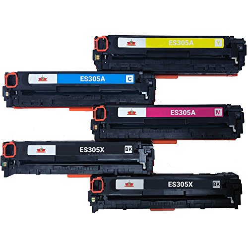 Empire Supplies Remanufactured 5 305X 0305A Toner Cartridge Replacement for CE410X CE411A CE412A CE413A Toner Cartridge used with LaserJet Pro Color M351 M375 M375nw M351a M451 M475 MFP M475dn ()