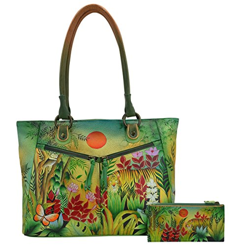 Anuschka Large Shopper with Front Pocketsrousseau's Jungle, Rsj/Rousseau's (2 Pocket Shopper)