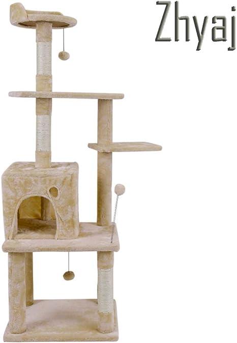 Zhyaj Rascador para Gatos Estable Muebles con Escalera Rascador para Gatos Rascarse Torre De Salto Juguete para Gato Casa De Mascotas Condominio Talla Grande,A: Amazon.es: Deportes y aire libre