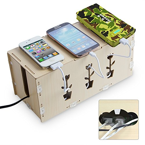 KMASHI® Wooden Portable DIY Charging Station Desk Organizer Storage Cabinets Cable Cord Organizer Box Cable Management System For Power Strip Wire Holder At Home and Office