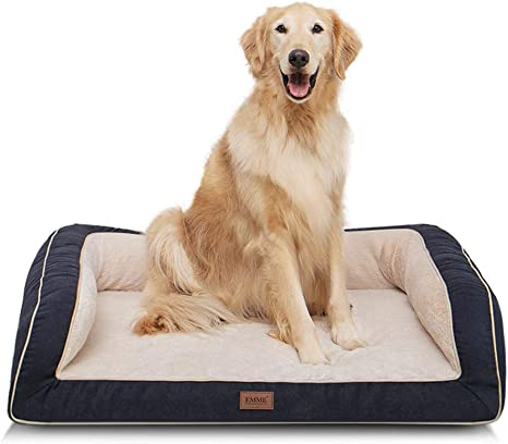 Amazon Com Emme Large Dog Bed Orthopedic Dog Beds With Plush Foam Mattress Joint Relief Washable Removable Cover Deluxe Dog Couch Sofa Style Pet Bed Navy Large Pet Supplies