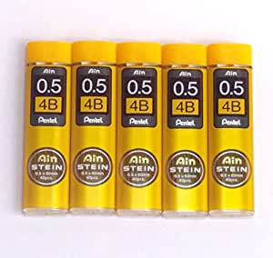 Pentel Ain Pencil Leads 0.5mm 4B, 40 Leads X 5 Pack/total 200 Leads (Japan Import) [Komainu-Dou Original Package]