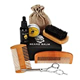 Beard Trimmers Kit with Beard Oils, Comb, Balm Butter, Barber Scissors, Brush Moustache Shaping & Grooming Trimming Shave Tool Sets for Man
