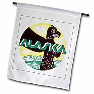 3dRose fl_172113_1 Alaska Vintage Luggage Label with Totem in Yellow, Brown and Green Garden Flag, 12 by 18-Inch