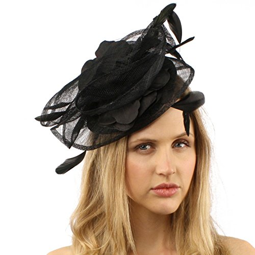 Sinamay Disc Feathers Floral Fascinators Headband Millinery Cocktail Hat Black