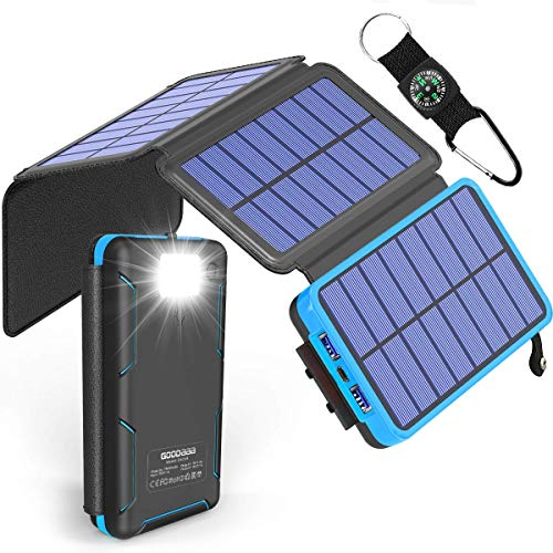 Solar Power Bank 25000mAh High Capacity USB External Battery Pack Backup Battery Power Pack with 4 Foldable Solar Charging Panels, Dual 2.1A Output Ports, Flashlight for iPhone Android Cellphones