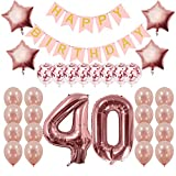 Rose Gold 40th Birthday Decorations Party Supplies Gifts for Women - Create Unique Events with Happy Birthday Banner, 40 Number and Confetti Balloons